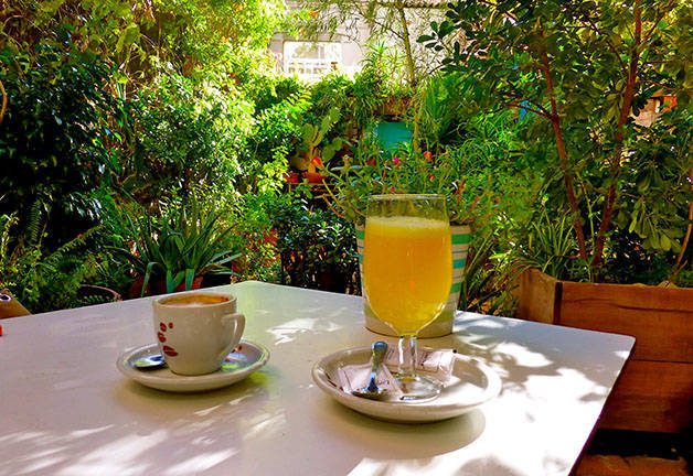 liadisimo terrace, coffee and orange juice