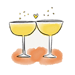 drawing glass of cava