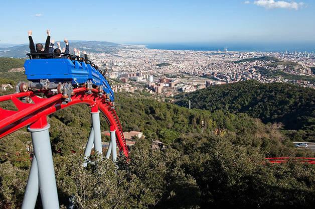tibidabo rollercoaster panorama