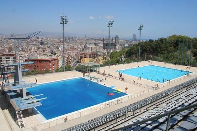 open-air pools in Barcelona, montjuic