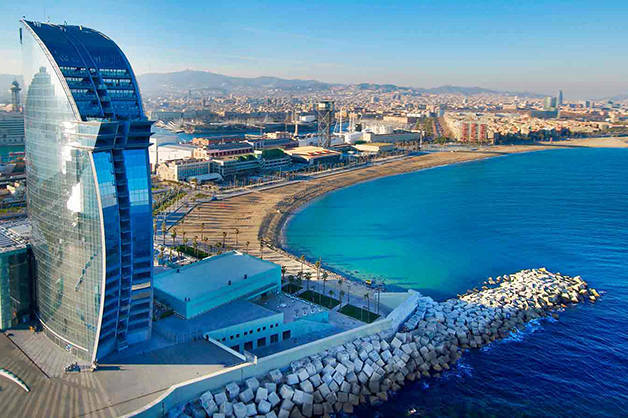 Barcelona beaches hotel W view