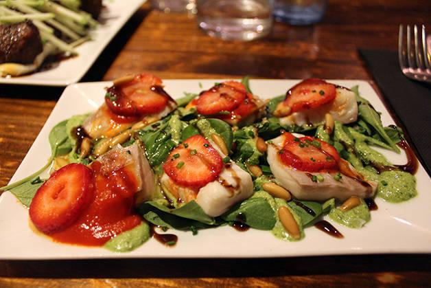 pepita sea bream and strawberries