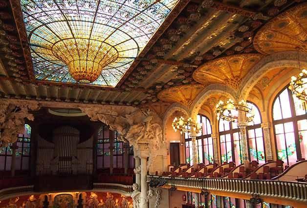cupola and balconies palau de la musica catalana