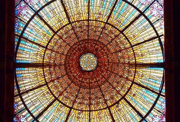 stained glass cupola palau de la musica catalana