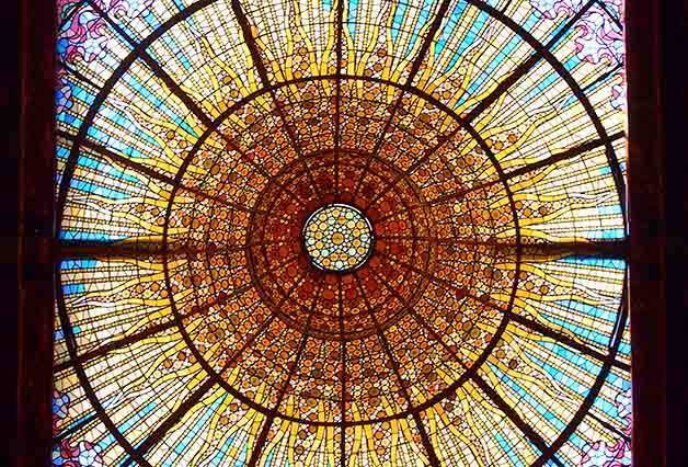stained glass cupola palau de la musica catalana