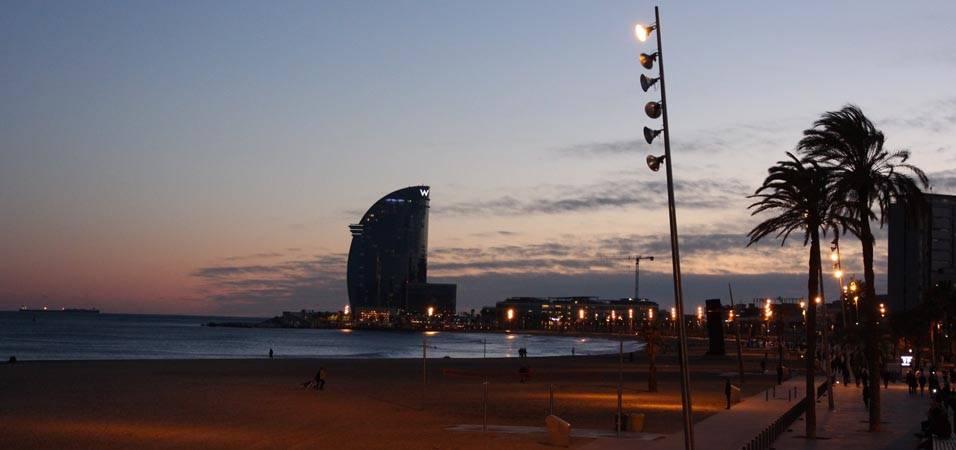 seaside sunset Barcelona