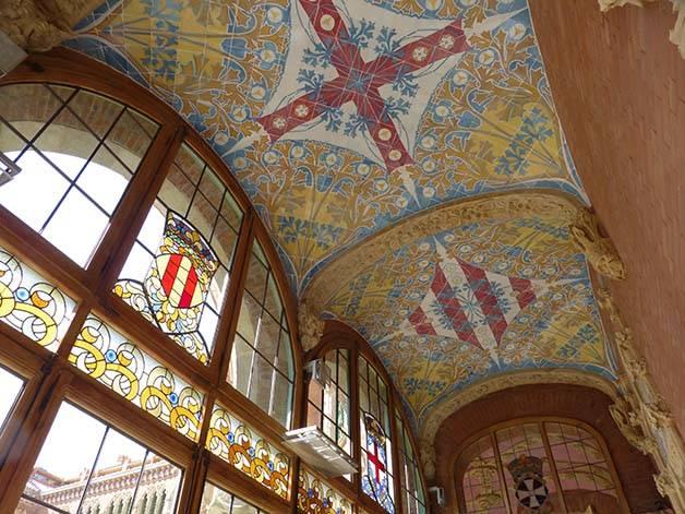 hospital de sant pau, corridor and stained glass window