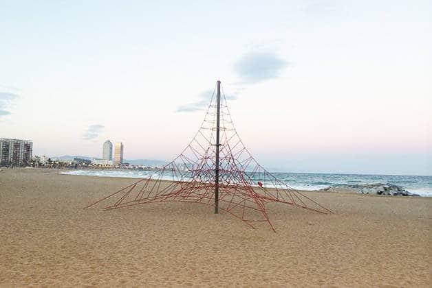 sport climbing net at the beach