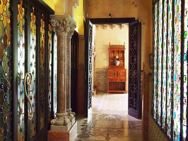 Casa Amatller interior stained glass windows and columns