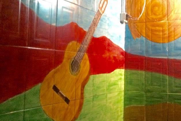 Mariatchi fresco mural: guitar