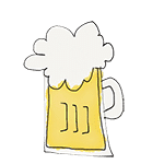 drawing glass of beer