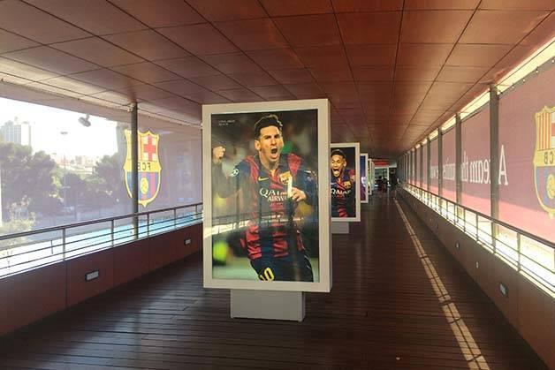 camp nou visit museum hall corridor