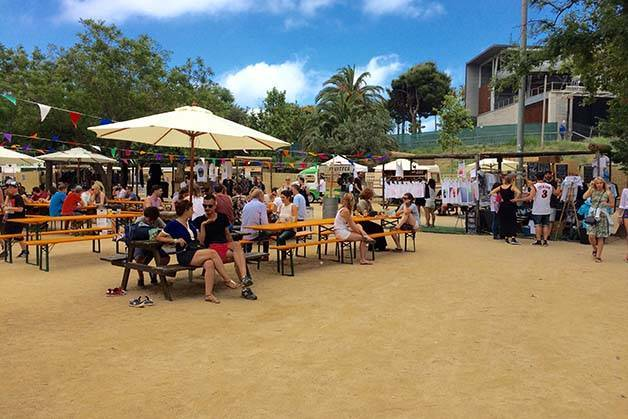 brunch in the park terrace and parasols
