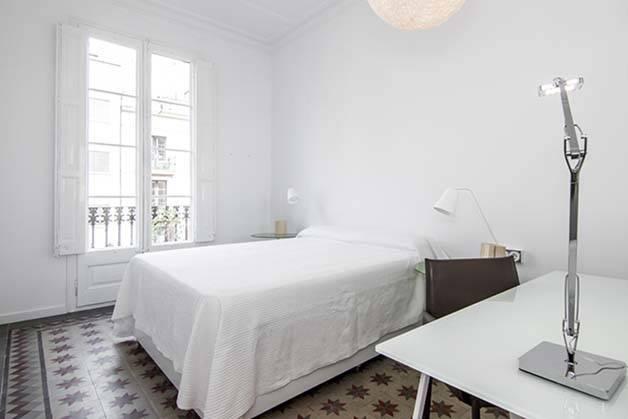student accommodation bright white room
