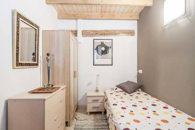 student accommodation bedroom taupe