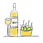 drawing tapas and bottle of wine