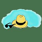 drawing hat and shades