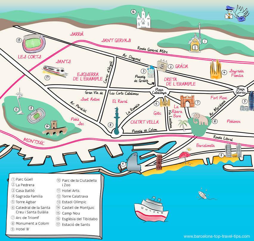 map barcelona illustrated: festas majors