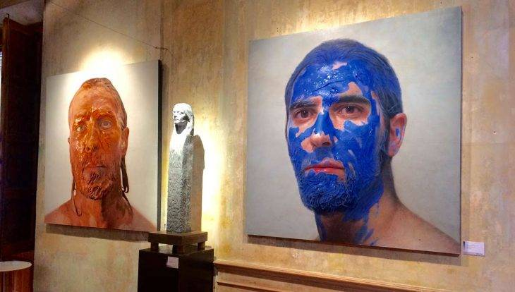 MEAM Barcelona blue-faced man painting