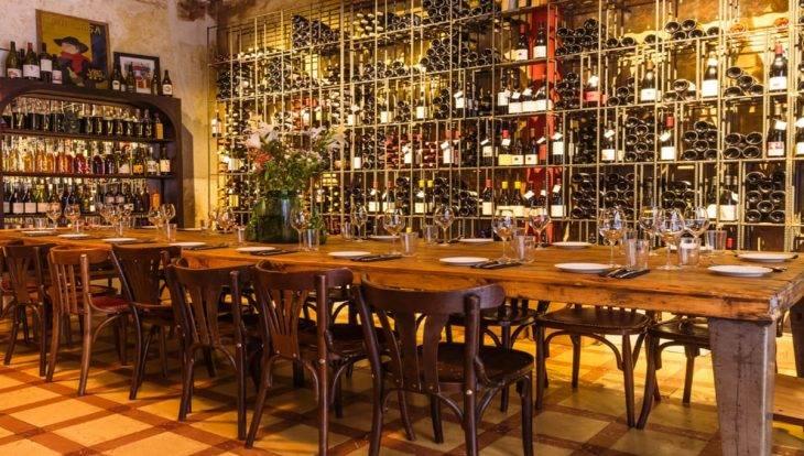 Brutal wine bar: long table