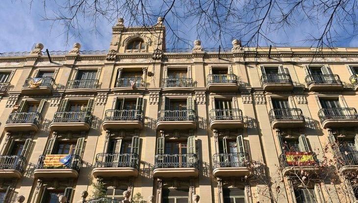Barcelona flags in windows