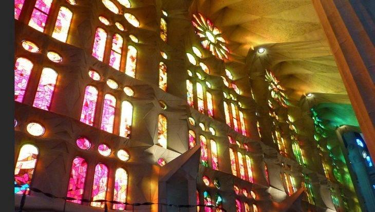 red and orange stained glass Sagrada Familia