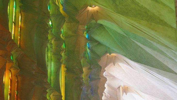 Sagrada familia stained glass reflections