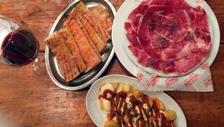 tapas at Bodega la Puntual: ham and patatas brava